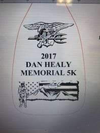 "TOP 2 PRIZES- The overall winning male & female runners at the Dan Healy Memorial 5K on Nov 5th will each receive a decorative 24"" paddle with this design on them."